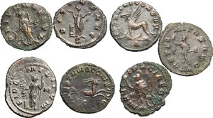 reverse: Roman Empire.. Multiple lot of eight (8) unclassified BI Antoniniani of Gallienus