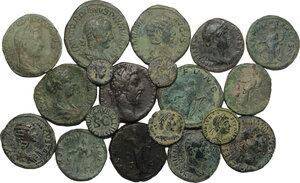 obverse: Roman Empire. Lot of 19 unclassified AE Denominations, including: Augustus, Trajan, Hadrian, Antoninus Pius, Faustina II, Commodus, Crispina, Julia Domna, Julia Mamaea, Severus Alexander, Philip I, Grodian III, Valens
