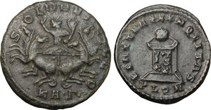 reverse: Roman Empire. Lot of 2 unclassified AE coins, including: Probus and Crispus