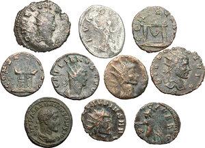 obverse: Lot of 10 unclassified BI and AE Antoniniani, including, Gallienus, Maximinus Thrax, Claudius II Gothicus and Salonina