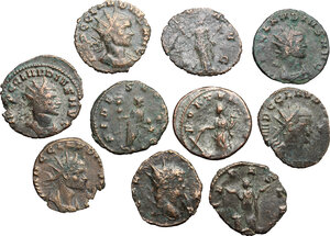 obverse: Roman Empire. Lot of 10 unclassified BI and AE Antoniniani, including: Gallienus and Claudius II Gothicus