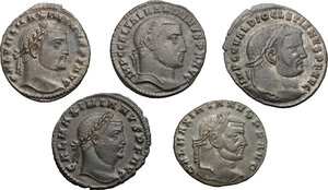 obverse: Lot of 5 unclassified AE Folles, including: Diocletian and Galerius