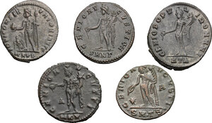 reverse: Lot of 5 unclassified AE Folles, including: Diocletian and Galerius