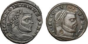 obverse: Roman Empire. Lot of 2 unclassified AE Follis, Siscia mint, including: Licinius and Maximianus