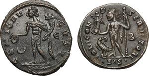 reverse: Roman Empire. Lot of 2 unclassified AE Follis, Siscia mint, including: Licinius and Maximianus