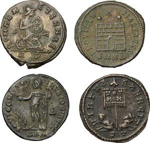 reverse: Roman Empire. Lot of 4 unclassified AE Coins, including: Licinius, Crispus