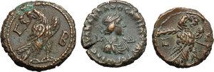 reverse: Roman Empire. Lot of 3 unclassified AE Tetradrachms, Alexandria mint, including: Aurelian, Probus