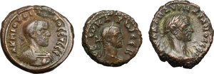 obverse: Roman Empire. Lot of 3 unclassified AE Tetradrachms, Alexandria mint, including: Philip I, Aurelian, Carus
