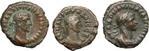 obverse: Roman Empire. Lot of 3 unclassified AE Tetradrachms, Alexandria mint, including: Probus, Aurelian, Diocletian