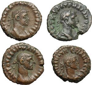 obverse: Roman Empire. Lot of 4 unclassified AE Tetradrachms, Alexandria mint, including: Aurelian, Diocletian