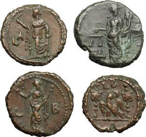 reverse: Roman Empire. Lot of 4 unclassified AE Tetradrachms, Alexandria mint, including: Aurelian, Diocletian