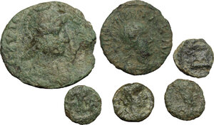 obverse: Barbaric and Migration Period.. Lot of 6 unclassified AE Denominations, c. 5th century