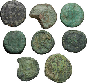 obverse: Migration Period and Byzantine Empire and . Lot of 8 unclassified small AE denominations, Ravenna mint, 5-6th century, including two broken pieces