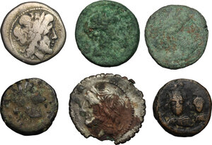obverse: Greek Italy, Roman Republic and Byzantine Empire. Lot of 6 unclassified coins, including a fourrée Denarius, an AR Victoriatus, an AE Paestum
