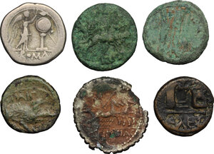 reverse: Greek Italy, Roman Republic and Byzantine Empire. Lot of 6 unclassified coins, including a fourrée Denarius, an AR Victoriatus, an AE Paestum