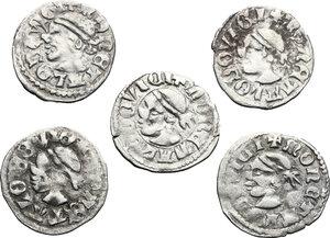 obverse: Hungary.  Louis I, the Great (1342-1382).. Lot of 5 AR Denars