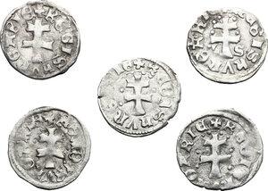 reverse: Hungary.  Louis I, the Great (1342-1382).. Lot of 5 AR Denars
