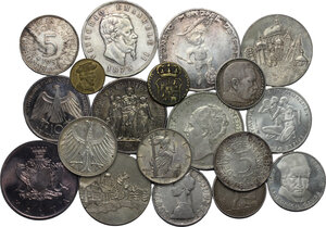 obverse: Miscellaneous. Lot of 19 coins, 19th-20th century, including: 3 AR Medals (Football World Cup Argenitna 1978, Bregenz and Dornbirn (both stamped AR900)), 14 AR coins (Germany, Italy, Netherlands, USSR, France, Malta) and 2 small AE coins