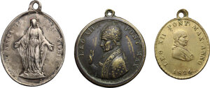 obverse: Lot of 3 Religious medals, including Pope Leo XII 1826 and one with the Virgin Mary