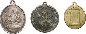 reverse: Lot of 3 Religious medals, including Pope Leo XII 1826 and one with the Virgin Mary