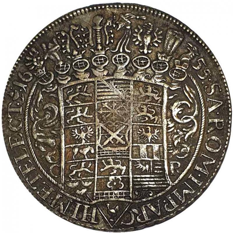reverse: Germany, Saxony. Jan Jerzy I Wettin, 1615-1656. 1 Thaler (taler) 1655, Dresda