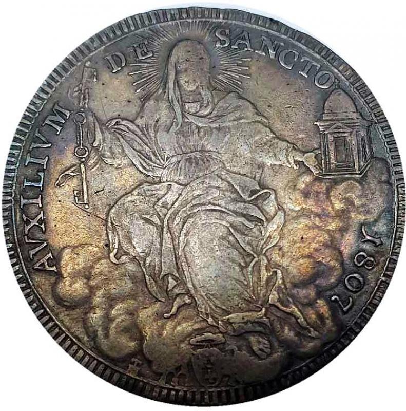 obverse: ROMA Pio VII Scudo 1807 VIII Ag  26,29 gr