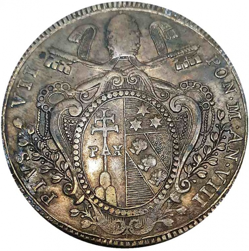 reverse: ROMA Pio VII Scudo 1807 VIII Ag  26,29 gr