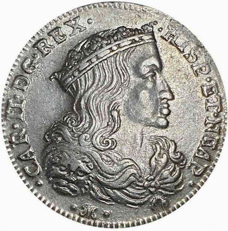 obverse: TARI  DA 20 GRANA 1691 NAPOLI CARLO II (1674-1700) II° PERIODO RE DI SPAGNA Spl