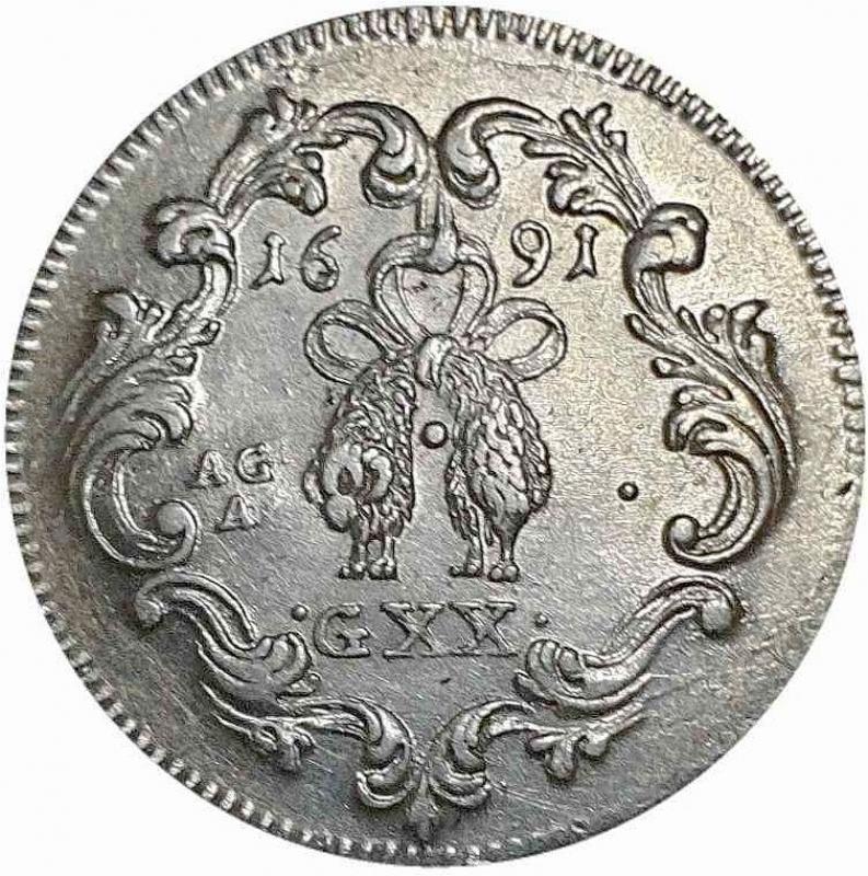 reverse: TARI  DA 20 GRANA 1691 NAPOLI CARLO II (1674-1700) II° PERIODO RE DI SPAGNA Spl