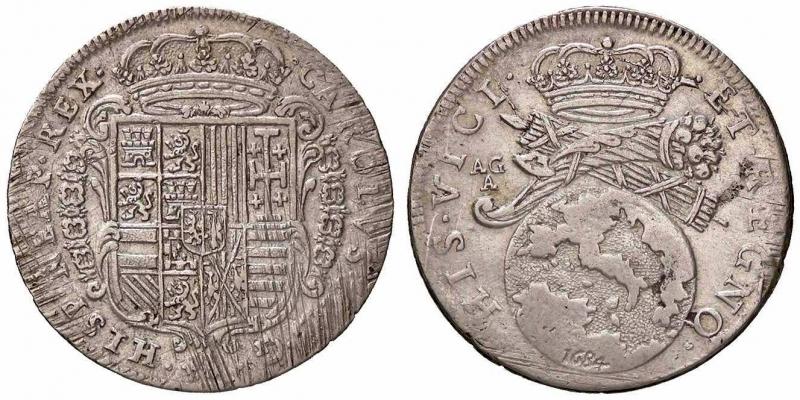 obverse: ZECCHE ITALIANE - NAPOLI - Carlo II, secondo periodo (1675-1700) - Tarì 1684