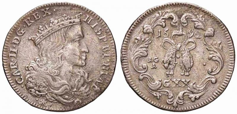 obverse: NAPOLI - Carlo II, secondo periodo (1675-1700) - Tarì 1692 P.R. 19; MIR 300/1 AG  BB/BB+.