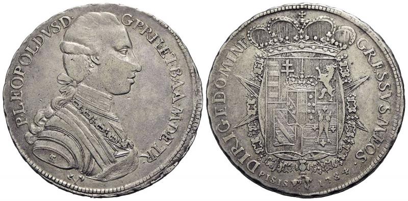 obverse: FIRENZE - Pietro Leopoldo di Lorena (1765-1790) - Francescone - 1784 - AG R CNI manca; MIR 384/1