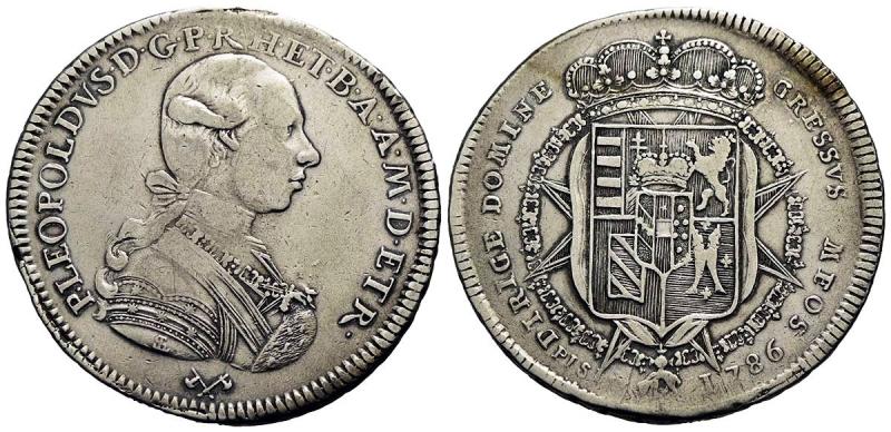 obverse: FIRENZE - Pietro Leopoldo di Lorena (1765-1790) - Francescone - 1786 - AG RR CNI 149/153; MIR 385/1-3