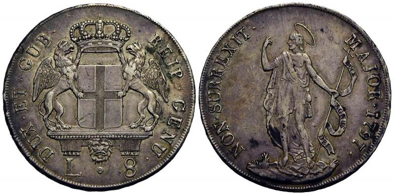 obverse: GENOVA - Dogi Biennali (terza fase, 1637-1797) - 8 Lire - 1797 - AG R CNI 5; Mont. 43 - BB+