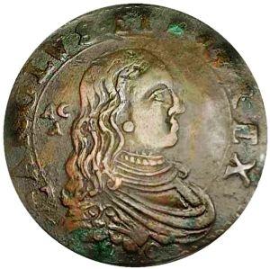 obverse: CARLO II° di SPAGNA  (1675-1700) .Grano,per Napoli,1680 scodellato.Raro  Consevazione insolita 8,4g - 27,5mm