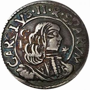 obverse: Cagliari. Carlo II (1665-1700). Reale 1695. MIR 88/6. R. AG. qSPL.