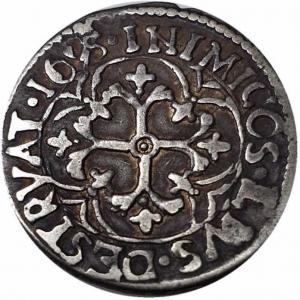 reverse: Cagliari. Carlo II (1665-1700). Reale 1695. MIR 88/6. R. AG. qSPL.