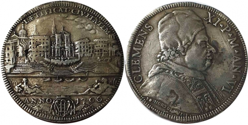 obverse: Clemente XI (1700-1721) Mezza piastra 1706 A VI –