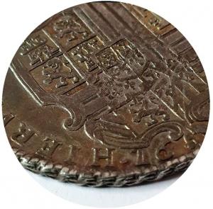 reverse: Carlo II di Spagna, Re di Napoli e Sicilia, 1665-1700. Ducato da 100 Grana 1689