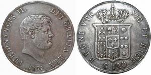 obverse: Ferdinando II: 1830-1859. Piastra da 120 Grana 1854 (del VI° Tipo); Napoli
