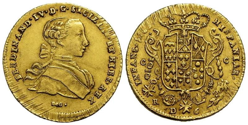 obverse: NAPOLI - Ferdinando IV di Borbone (primo periodo, 1759-1799) - 6 Ducati - 1766