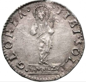 reverse: Venezia. Andrea Gritti (1523-1538). Lira o mocenigo, sigle M Z, Marchio Zen massaro.