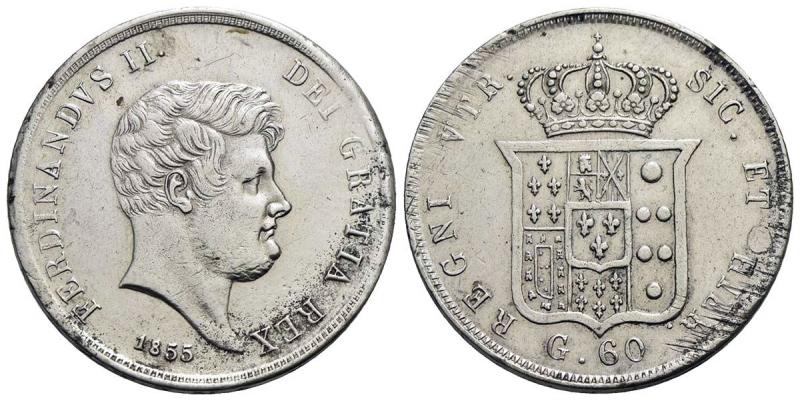 obverse: NAPOLI - Ferdinando II di Borbone (1830-1859) - Mezza piastra - 1855 - AG