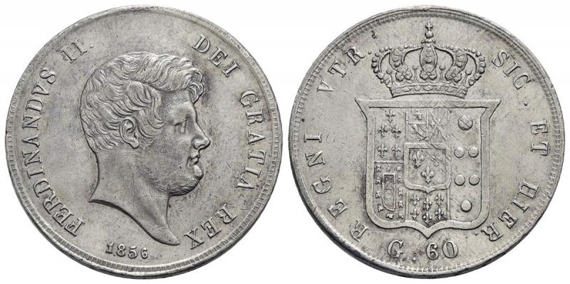 obverse: NAPOLI - Ferdinando II di Borbone (1830-1859) - Mezza piastra - 1856 - AG
