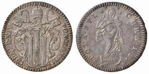 obverse: . Roma – Benedetto XIV (1740-1758) - Grosso An. XIII - Munt.66a C  SPL.