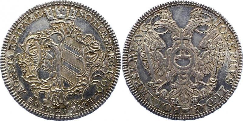obverse: Nürnberg-Stadt 1/2 Taler 1766 SR , EF