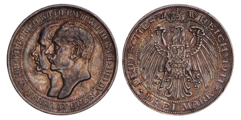 obverse: Impero tedesco 3 marchi, 1911 100° anniversario - Università di Breslavia