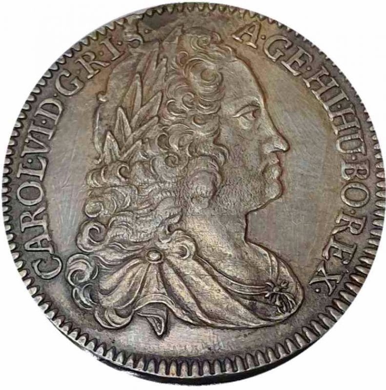 obverse: Carlo VI d Asburgo Imperatore del Sacro Romano Impero 1/4 taler 1740