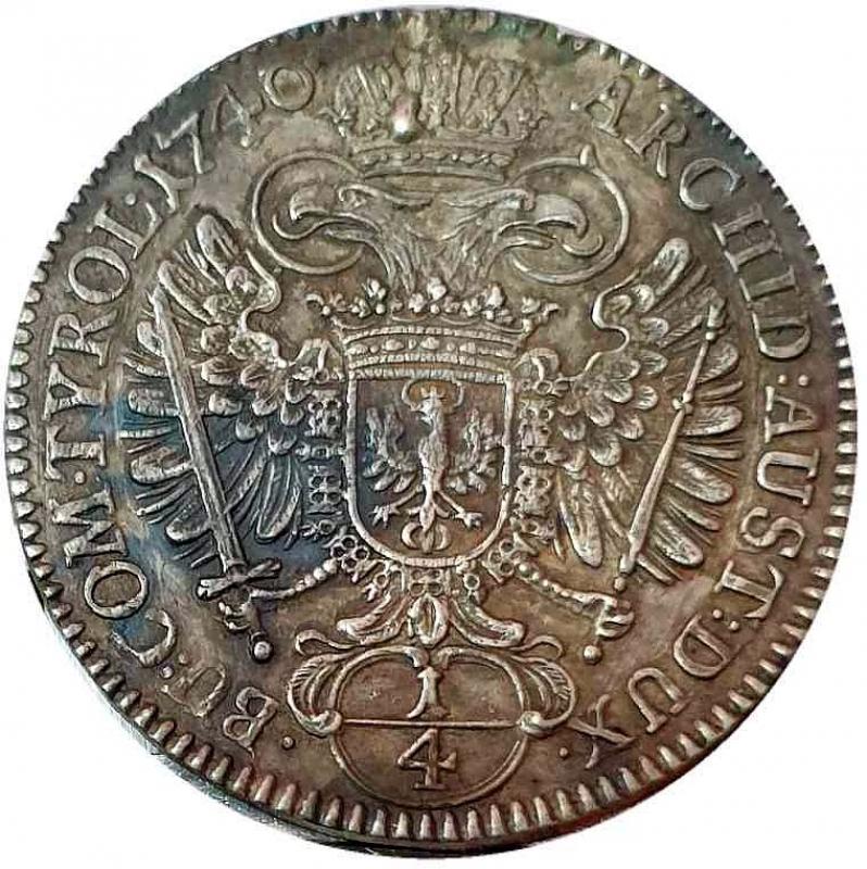 reverse: Carlo VI d Asburgo Imperatore del Sacro Romano Impero 1/4 taler 1740