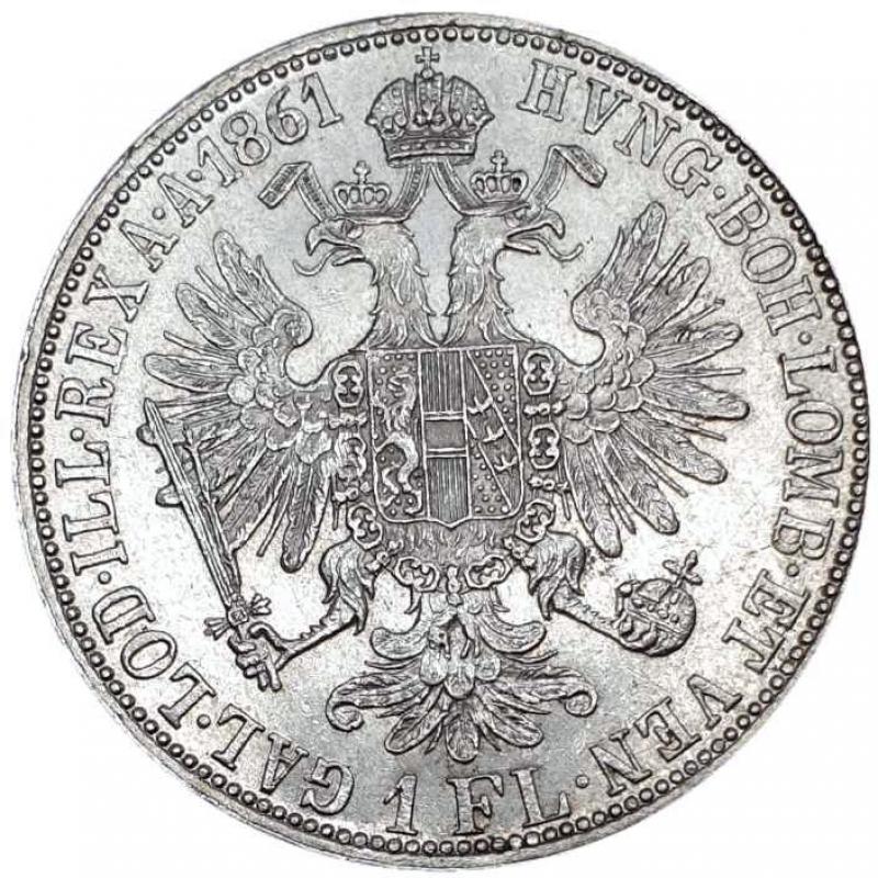 obverse: Austria 1 Florin 1861 A Vienna. Franz Joseph I (1848-1916)AG